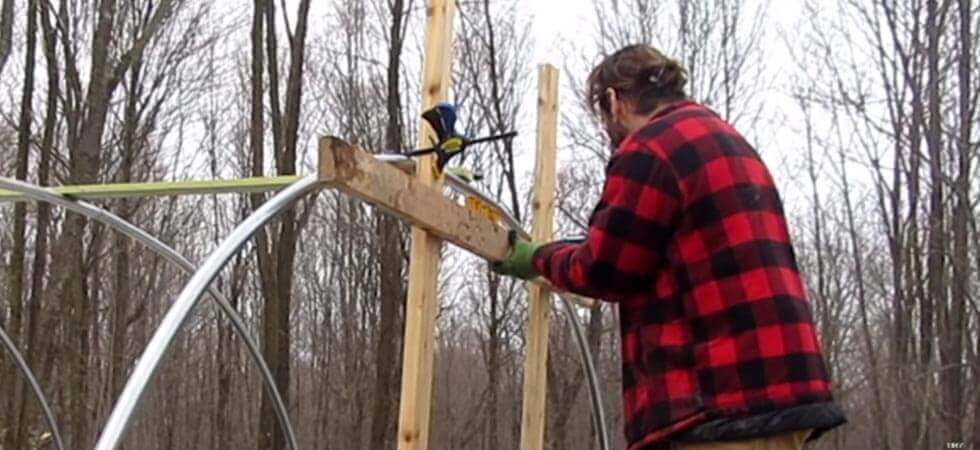 making the door frame of the hoop house