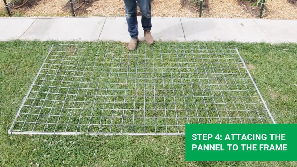 connecting the livestock panel to the frame