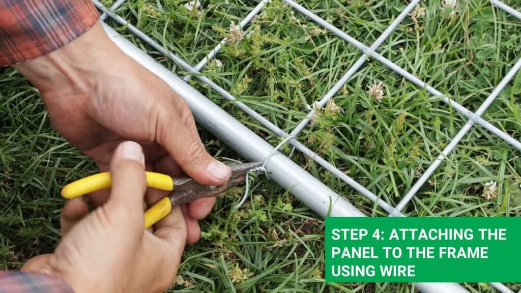 using a wire for connecting the livestock fence to the frame